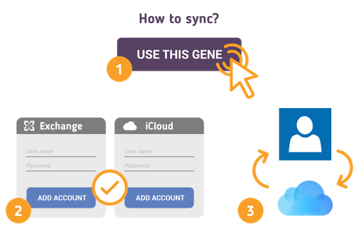 Sync Exchange Contacts with iCloud using Free SyncGene service